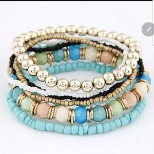 7 Layered Teal Bracelets